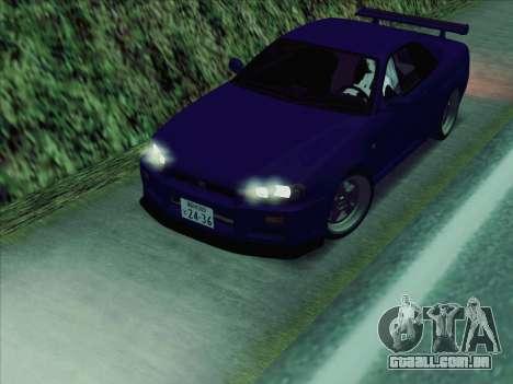Nissan Skyline GT-R V-Spec (BNR34) para GTA San Andreas traseira esquerda vista