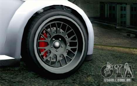 GTA 5 Ubermacht Sentinel XS para GTA San Andreas traseira esquerda vista