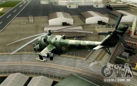 Mi-24D Polish Air Force para GTA San Andreas esquerda vista