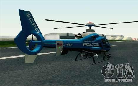 NFS HP 2010 Police Helicopter LVL 2 para GTA San Andreas esquerda vista