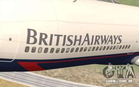 Lookheed L-1011 British Airways para GTA San Andreas vista traseira