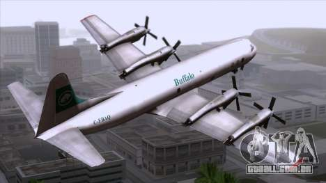 L-188 Electra Buffalo Airways para GTA San Andreas esquerda vista