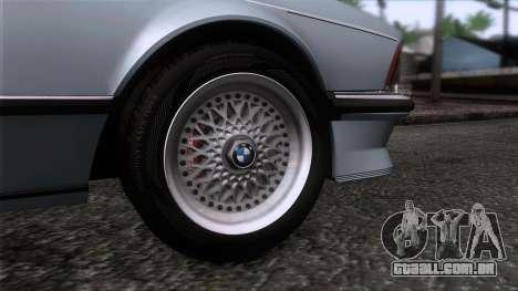 BMW M635 CSi 1984 Stock para GTA San Andreas traseira esquerda vista