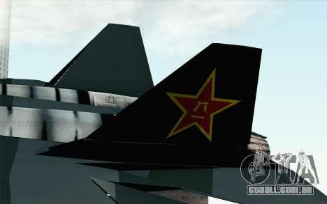 Sukhoi PAK-FA China Air Force para GTA San Andreas traseira esquerda vista