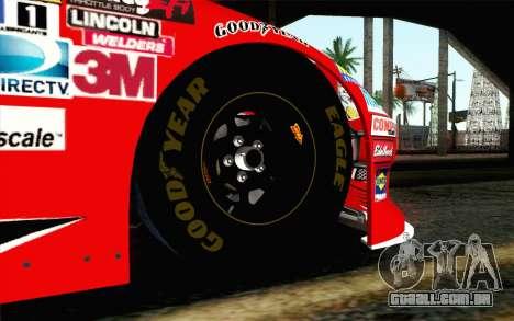 NASCAR Chevrolet Impala 2012 Short Track para GTA San Andreas traseira esquerda vista