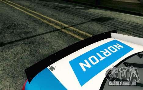 NASCAR Ford Fusion 2012 Plate Track para GTA San Andreas vista traseira
