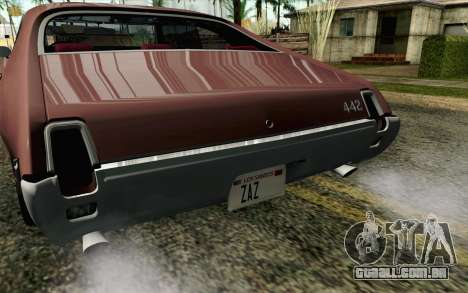 Oldsmobile 442 Holiday Coupe 1969 HQLM para GTA San Andreas vista traseira