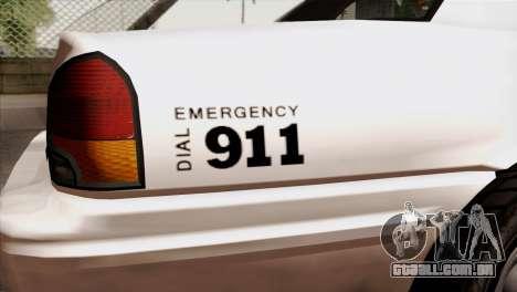 GTA 5 Vapid Stanier Sheriff para GTA San Andreas vista traseira
