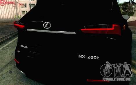 Lexus NX 200T v4 para GTA San Andreas vista traseira