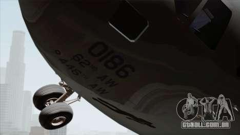 C-17A Globemaster III USAF McChord para GTA San Andreas vista direita