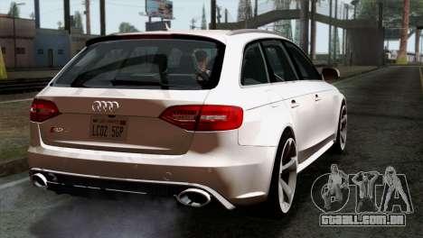 Audi RS4 Avant B8 2013 v3.0 para GTA San Andreas esquerda vista