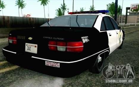 Chevy Caprice SAHP SAPD Highway Patrol v1 para GTA San Andreas esquerda vista