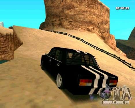 VAZ 2107 CÓLICAS para GTA San Andreas traseira esquerda vista