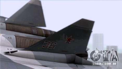 Sukhoi T-50 PAK FA Akula with Trinity para GTA San Andreas traseira esquerda vista