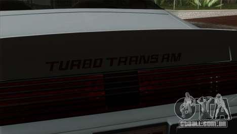 Pontiac Trans AM Interior para GTA San Andreas vista direita