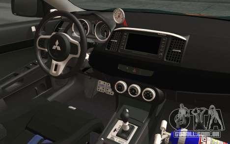 Mitsubishi Lancer Evolution X v2 para GTA San Andreas vista traseira