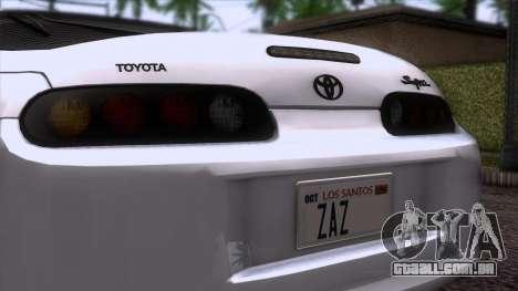 Toyota Supra US-Spec (JZA80) 1993 HQLM para GTA San Andreas vista traseira