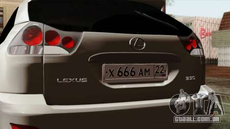 Lexus RX350 2009 para GTA San Andreas vista direita