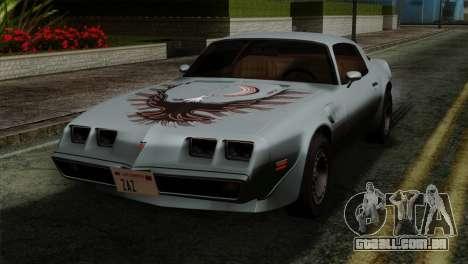 Pontiac Trans AM Interior para GTA San Andreas