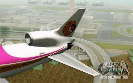 Lookheed L-1011 Hawaiian para GTA San Andreas traseira esquerda vista