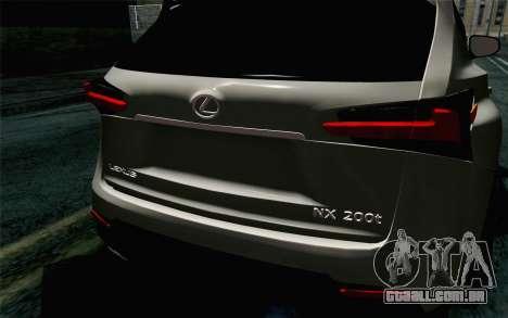 Lexus NX 200T v5 para GTA San Andreas vista traseira