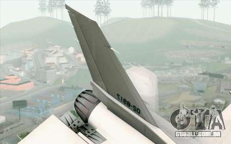 Mitsubishi F-2 White JASDF Skin para GTA San Andreas traseira esquerda vista