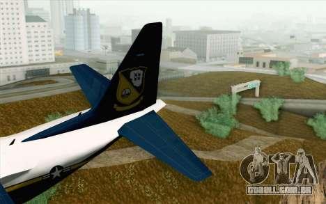 C-130H Hercules Blue Angels para GTA San Andreas traseira esquerda vista