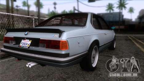BMW M635 CSi 1984 Stock para GTA San Andreas esquerda vista