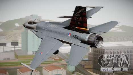 F-16 Fighting Falcon 50th Anniv. of Squadron 313 para GTA San Andreas esquerda vista