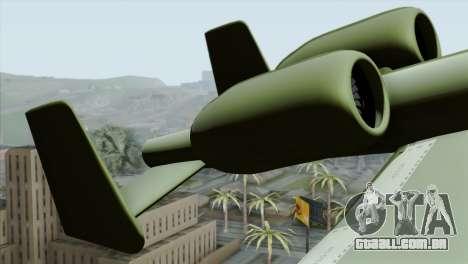 A-10 Warthog Shark Attack para GTA San Andreas traseira esquerda vista