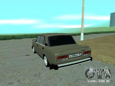 VAZ Lada 2105 para GTA San Andreas traseira esquerda vista
