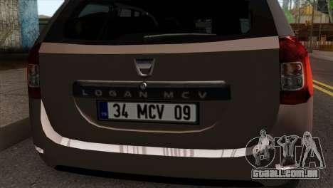 Dacia Logan MCV 2013 IVF para GTA San Andreas vista traseira