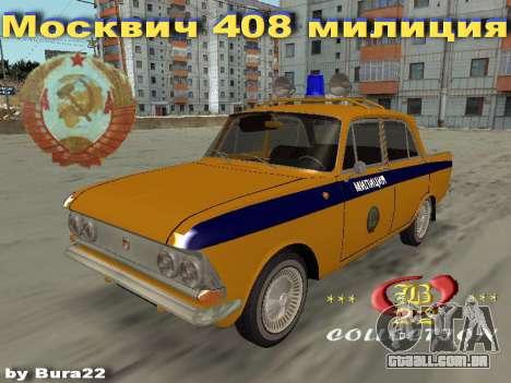 Moskvich 408 Polícia para GTA San Andreas esquerda vista