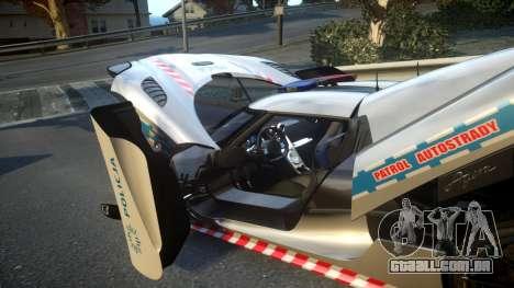Koenigsegg Agera Polish Highway Patrol Police para GTA 4 vista superior