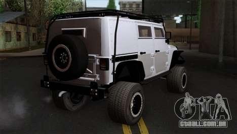 Jeep Wrangler 2013 Fast & Furious Edition para GTA San Andreas esquerda vista