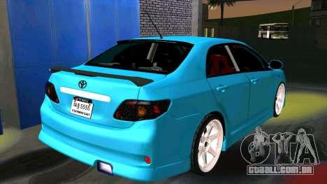 Toyota Corolla Altis para GTA San Andreas traseira esquerda vista