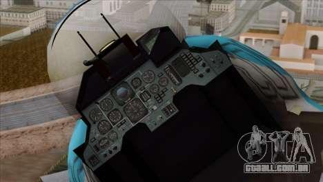 SU-33 Flanker-D Blue Camo para GTA San Andreas vista traseira