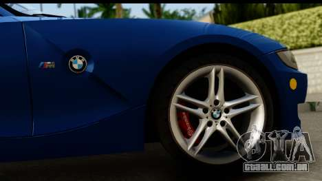 BMW Z4M Coupe 2008 para GTA San Andreas vista traseira