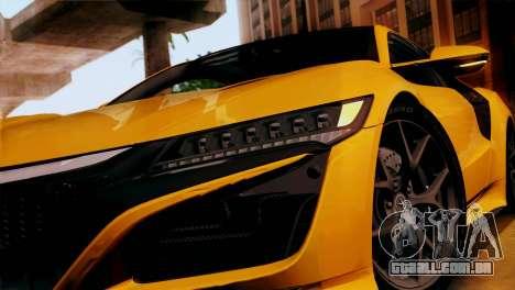 Acura NSX 2016 v1.0 SA Plate para GTA San Andreas traseira esquerda vista