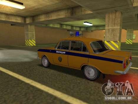 Moskvich 408 Polícia para GTA San Andreas traseira esquerda vista