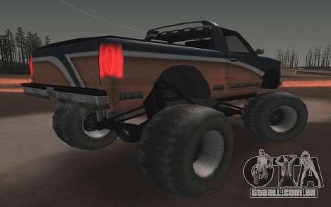 Novas texturas Final do Monstro para GTA San Andreas traseira esquerda vista