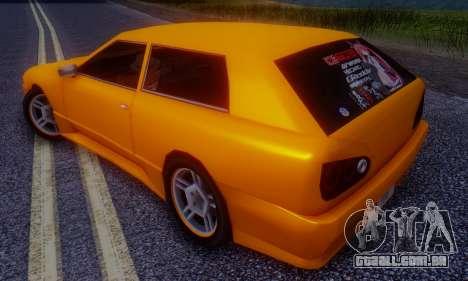Elegy Hatchback v.1 para GTA San Andreas traseira esquerda vista