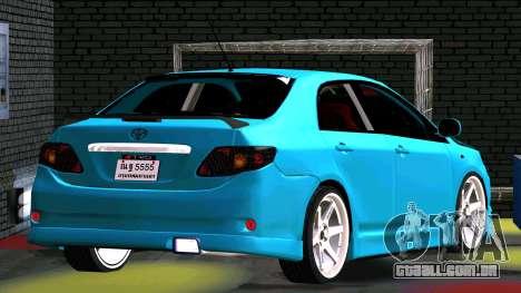 Toyota Corolla Altis para GTA San Andreas vista interior