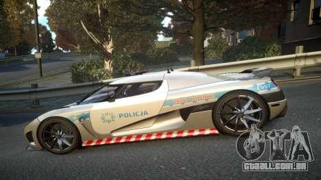 Koenigsegg Agera Polish Highway Patrol Police para GTA 4 esquerda vista