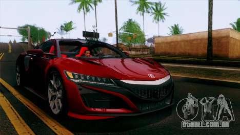 Acura NSX 2016 v1.0 SA Plate para GTA San Andreas vista superior