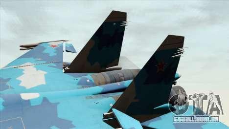 SU-33 Flanker-D Blue Camo para GTA San Andreas traseira esquerda vista