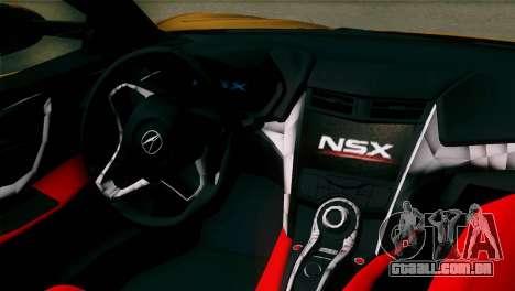 Acura NSX 2016 v1.0 SA Plate para GTA San Andreas vista traseira