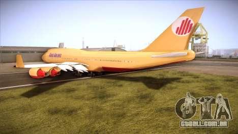 GTA V 747 Adios Airlines para GTA San Andreas traseira esquerda vista