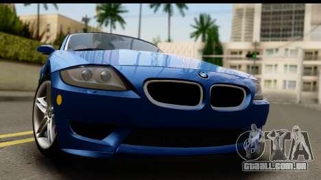 BMW Z4M Coupe 2008 para GTA San Andreas traseira esquerda vista