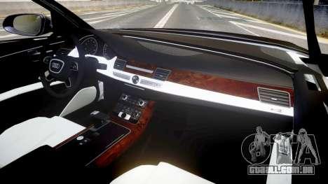 Audi A8 L 2015 Chinese style para GTA 4 vista de volta